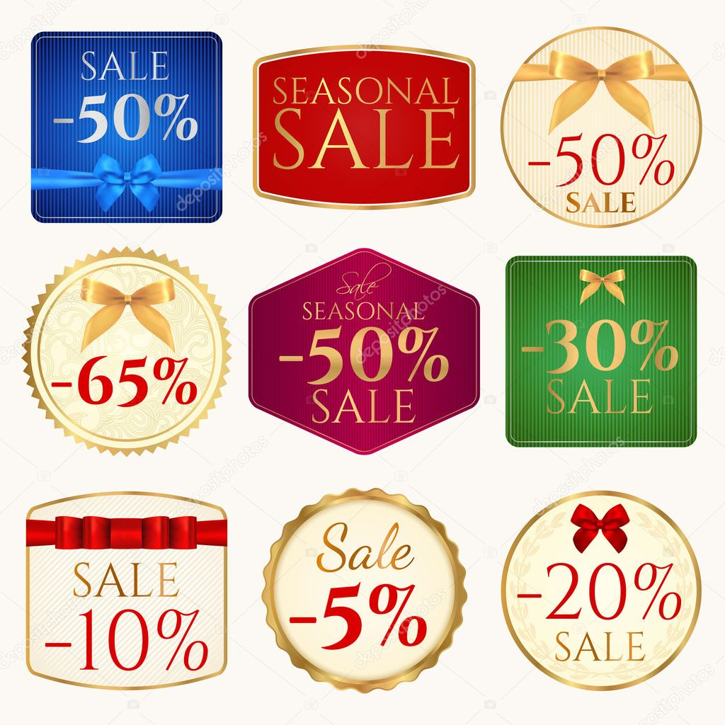 Vector set: Colorful Sale banner (coupon or tag) template with ...