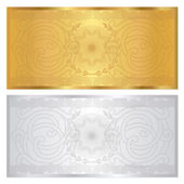 Gold , solver Voucher template with guilloche pattern (watermark) and border. This background design usable for gift voucher, coupon, banknote, certificate, diploma, currency, check (cheque). Vector — Stock Vector