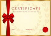 Certificate of completion (template) with wax seal, border and red bow (ribbon) — Stock Vector