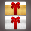Постер, плакат: Golden and silver gift card discount card with gift box and red bow ribbons
