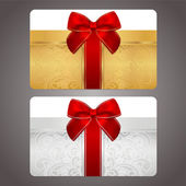 Golden and silver gift card (discount card) with gift box and red bow (ribbons) — Stock Vector
