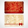 Stock Vector: Red and gold gift card (discount card) with floral pattern and red bow (ribbons)