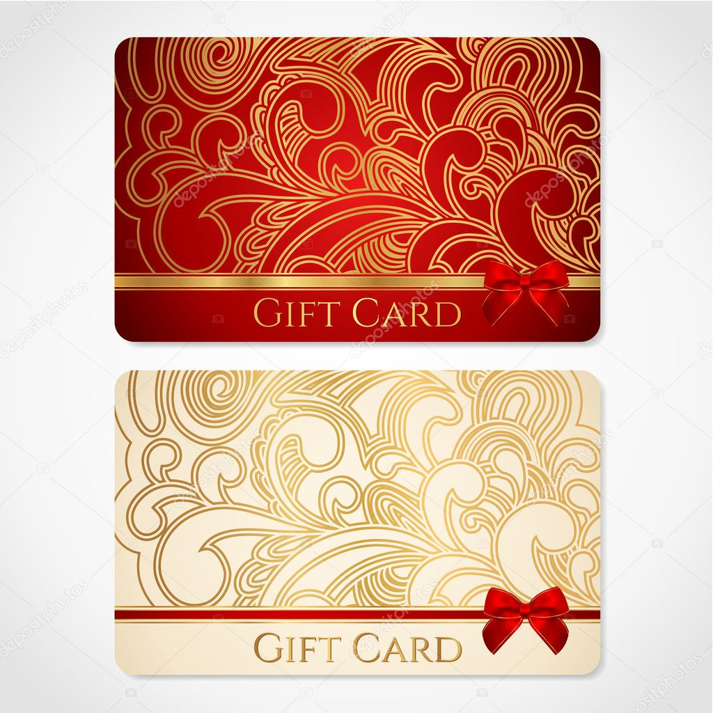Red And Gold Gift Card (discount Card) With Floral Pattern