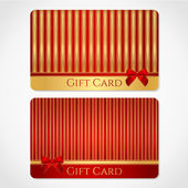 Red and gold gift card (discount card) with stripy pattern and red bow (ribbons) — Stock Vector