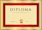 Horizontal Diploma or Certificate (template) with guilloche pattern (watermarks), gold, red border and first place golden medal — Stock Vector