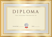 Horizontal Diploma or Certificate (template) with guilloche pattern (watermarks), silver and gold border — Stock Vector