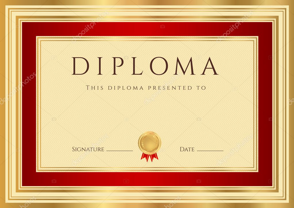 Download - Horizontal Diploma or Certificate (template) with guilloche ...