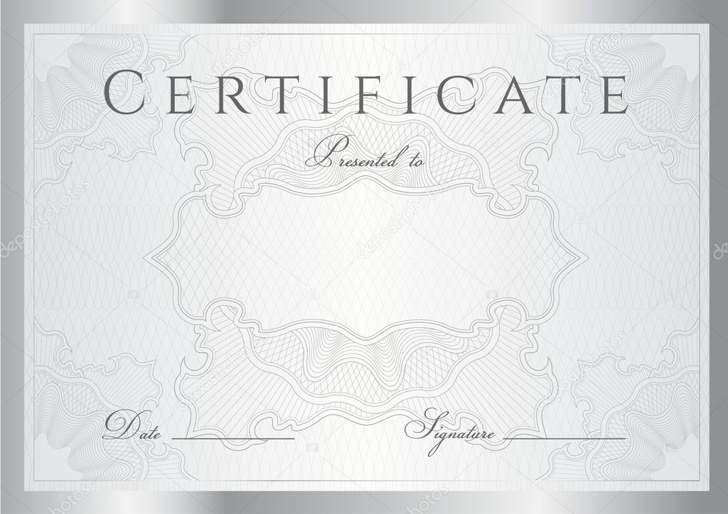 Horizontal Silver Certificate Of Completion Template With Guilloche Pattern Watermarks And