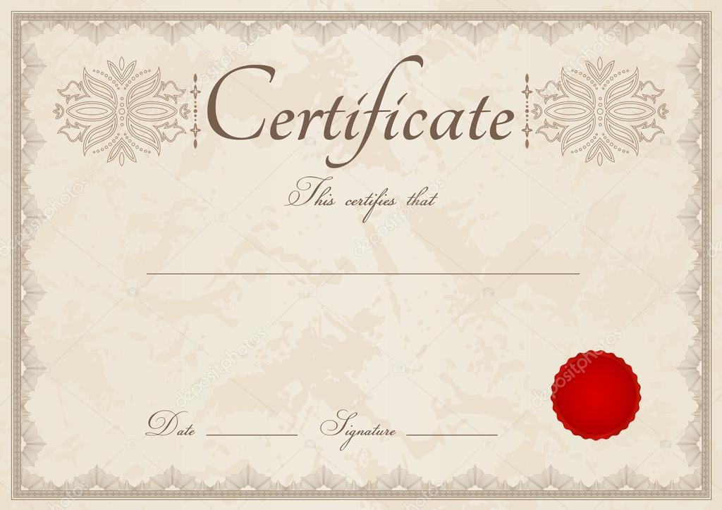 horizontal beige certificate of completion  template  with guilloche pattern  watermarks