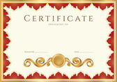 Horizontal certificate of completion (template) with guilloche pattern (watermarks) and golden, red (maroon or vinous) floral border. Background for certificate, invitation, gift voucher, coupon etc. — Stock Vector