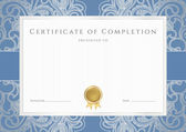 Horizontal certificate of completion (template) with floral pattern (watermarks), blue border and gold medal (insignia). Background design usable for diploma, invitation, gift voucher, official etc. — Stock Vector