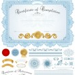 Horizontal blue certificate of completion (template) with guilloche pattern (watermarks), borders, medal (insignia), and design elements. Background design usable for diploma, invitation or awards - Stock Vector