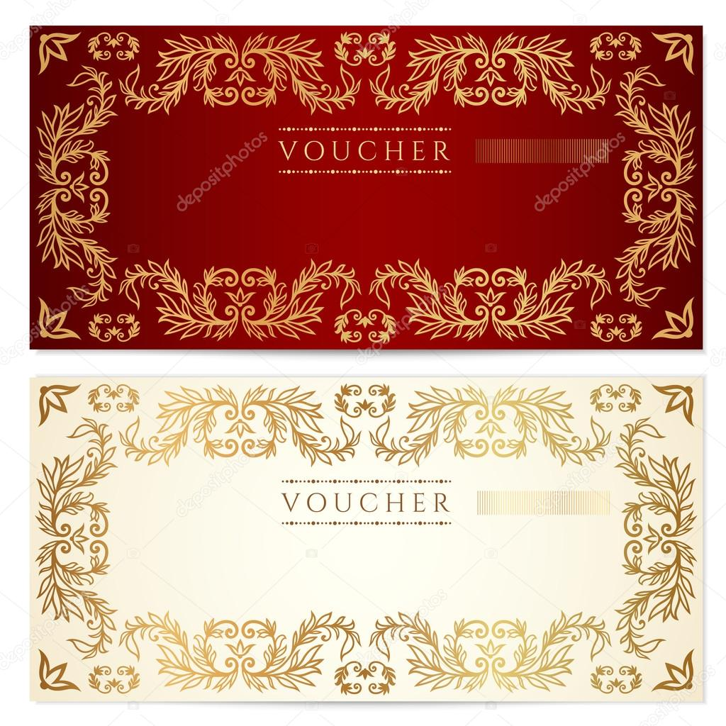 Voucher (gift certificate) template with pattern, floral border ...