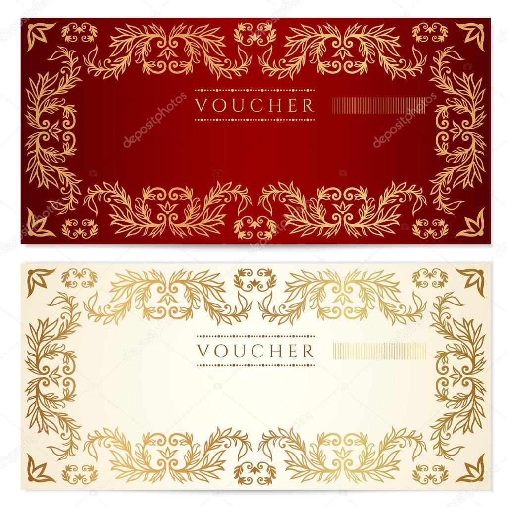 Voucher (Gutschein)-Vorlage mit Muster, florale Grenze. Hintergrund ...
