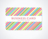 Colorful business card or Gift card (discount card) with stripy pattern. Bright background design usable for gift coupon, voucher, invitation, ticket etc. Vector — Stock Vector