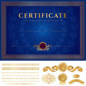 Blue Certificate of completion (template or sample background) with guilloche pattern (watermarks), golden borders, medal, elements. Design for diploma, gift voucher, official, awards (winner). Vector — Stok Vektör