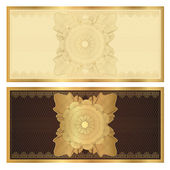 Gift certificate (Voucher) template with guilloche pattern (watermarks) and border. Background usable for coupon, banknote, money design, currency, note, check, cheque. Vector in golden, brown colors — Stock Vector