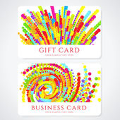 Colorful Business or Gift card template with abstract pattern. Bright background design usable for gift coupon, voucher, invitation, ticket etc. Vector — Stock Vector