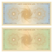 Gift certificate (Voucher) template with guilloche pattern (watermarks) and border. Background for coupon, banknote, money design, currency, note, check, cheque. Vector in vintage colors (green,blue) — Stock Vector