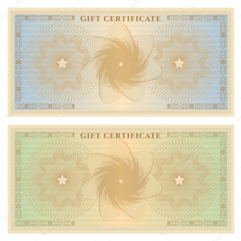 Gift Certificate (Voucher) Template With Guilloche Pattern