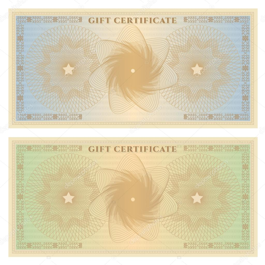 Gift certificate Voucher template with guilloche pattern – Money Certificate Template