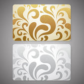 Gift card (discount card or business card) with floral (scroll shape) gold, silver pattern. Background design for gift coupon, voucher, invitation, ticket etc. Vector — Stock Vector