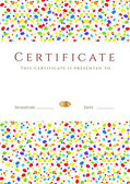 Vertical colorful Certificate of completion (template for holidays or children) with bright abstract background. Usable for diploma, invitation, gift voucher, coupon or awards. Vector — Stok Vektör