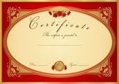 Red Certificate of completion (template or sample background) with flower pattern (rose), golden vintage border. Design for diploma, invitation, gift voucher, ticket or awards (winner). Vector — Stok Vektör
