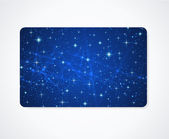 Blue business card or Gift card (discount card) template with sparkling, twinkling stars. Cosmic atmosphere banner. Universe. Bright background design usable for gift coupon, voucher, ticket. Vector — Vecteur