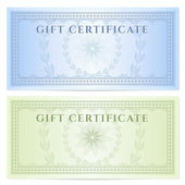 Gift certificate (Voucher) template with guilloche pattern (watermarks) and border. Background design for coupon, banknote, money design, currency, note, ticket, check, cheque etc. Colors (green,blue) — Stock Vector