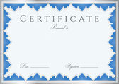 Blue Certificate of completion (template or sample background) with guilloche pattern (watermarks), border. Design for diploma, invitation, gift voucher, official, ticket or awards (winner). Vector — Stockvektor