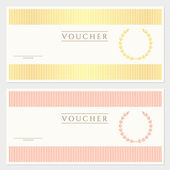 Voucher, Gift certificate template with colorful stripy pattern and border. Background usable for coupon, banknote, money design, currency, note, cheque, ticket, check etc. Vector in vintage color — Stock Vector