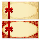 Voucher, Gift certificate, Coupon template with border, frame, bow (ribbons). Background design for invitation, banknote, diploma, money design, currency, check. Vector in gold, red (maroon) colors — Stock Vector