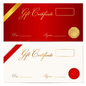 Voucher, Gift certificate,Coupon template with ribbon, seal wax. Background design for invitation, banknote, diploma, money design, currency, check, cheque. Vector in gold, red (maroon) colors — Stock Vector