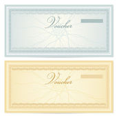 Gift certificate, Voucher template with guilloche pattern (watermarks) and border. Background for coupon, banknote, money design, currency, cheque, check, ticket etc. Vector in vintage colors — Stock Vector