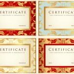 Certificate of completion (template or sample background) with flower pattern (scroll), golden vintage, frame. Design for diploma, invitation, gift voucher, ticket, awards (winner). Vector set — Stock Vector