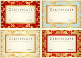 Certificate of completion (template or sample background) with flower pattern (scroll), golden vintage, frame. Design for diploma, invitation, gift voucher, ticket, awards (winner). Vector set — Stok Vektör