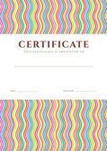 Certificate of completion (template or sample background) with colorful (bright, rainbow) wave lines pattern and place for text. Design for diploma, invitation, gift voucher, ticket, awards. Vector — Stockvektor
