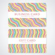 Royalty-Free Stock Vector Image: Colorful business card or Gift card (discount card) template with stripy rainbow pattern. Bright background design usable for gift coupon, voucher, invitation, ticket etc. Vector set
