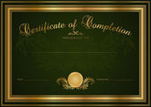 Green Certificate of completion (template or sample blank background) with guilloche pattern (watermark), gold borders. Design for Diploma, invitation, gift voucher, official, award (winner). Vector — Stok Vektör