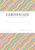 Certificate of completion (template or sample background) with colorful (bright, rainbow) wave lines pattern and place for text. Design for diploma, invitation, gift voucher, ticket, awards. Vector — Stok Vektör
