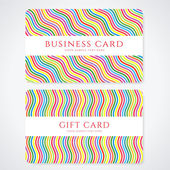 Colorful business card or Gift card (discount card) template with stripy rainbow pattern. Bright background design usable for gift coupon, voucher, invitation, ticket etc. Vector set — Stock Vector