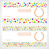 Voucher (Gift certificate) template with colorful (bright, rainbow) abstract background design. Background for coupon, banknote, money design, currency, cheque, ticket, check etc. Vector with circles — Stock Vector