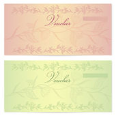 Gift certificate, Voucher, Coupon template (layout) with floral pattern (watermark), border. Background for banknote, money design, currency, cheque, check, ticket, reward. Green, peach color. Vector — Stock Vector