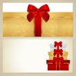 Voucher (Gift certificate, Coupon) template with present (boxes), bow (ribbons). Background design for invitation, banknote, diploma, money design, currency, check. Vector in gold, red (maroon) colors — Stock Vector