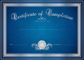 Dark blue Certificate, Diploma of completion (design template, sample background) with floral pattern (watermarks), border. Useful for: Certificate of Achievement, Certificate of education, awards — Stockvector