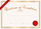 Certificate, Diploma of completion (design template, sample background) with abstract pattern, gold border, ribbon, wax seal. Useful for: Certificate of Achievement, Certificate of education, awards — Vector de stock