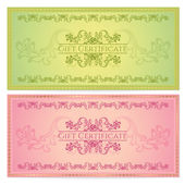 Gift certificate, Voucher, Coupon template (layout) with floral pattern (watermark), border. Background for invitation, banknote, cheque (check), money design, currency. Green, red color. Vector — Stock Vector
