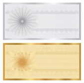 Gift certificate, Voucher, Coupon template with guilloche pattern (watermarks), border. Background for banknote, money design, currency, note, check (cheque), ticket, reward. Cold, silver vector — Stock Vector