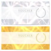 Gift certificate, Voucher, Coupon template (layout) with abstract pattern, sparkling, twinkling stars. Background design for invitation, banknote, cheque (check), currency, banner. Gold, silver — Vecteur